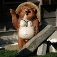 和菓子屋さんの看板狸